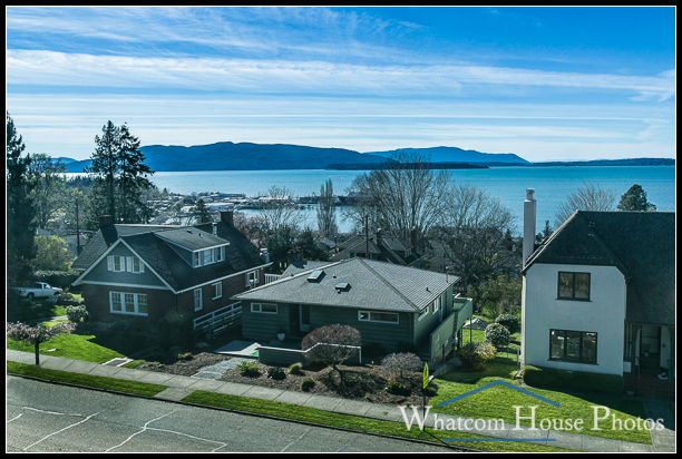 View to Bellingham Bay from front bedroom window, 715 15th Street, Bellingham, WA. © 2016 Mark Turner