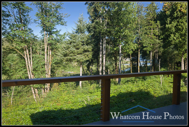 View to Friday Creek woodland framed by deck railing