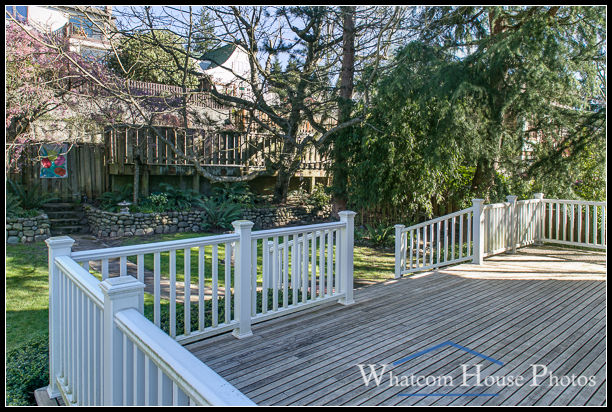 Rear deck view to yard, 715 15th Street, Bellingham, WA. © 2016 Mark Turner