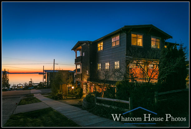 Dusk exterior, view to Bellingham Bay